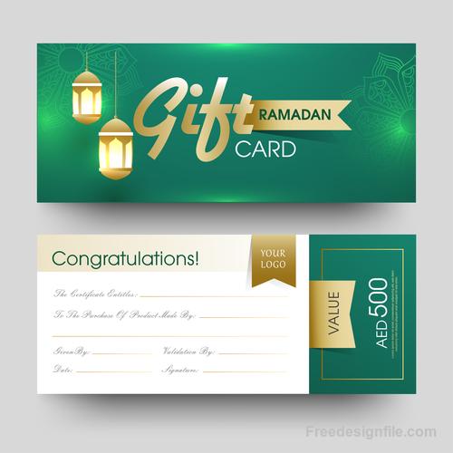 Ramadan gift card template vector 02