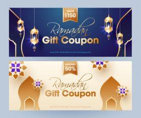 Ramadan gift voucher template vector 01