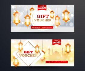 Ramadan gift voucher template vector 02