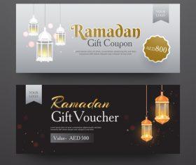 Ramadan gift voucher template vector 03