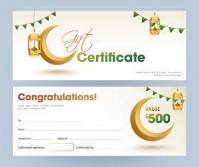 Ramadan gift voucher template vector 04