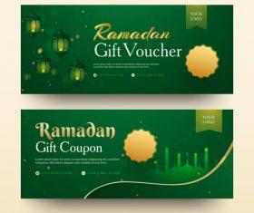 Ramadan gift voucher template vector 05