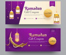 Ramadan gift voucher template vector 07
