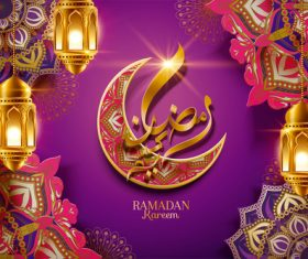 Ramadan kareem Arabic Calligraphy Decor Background Vector 01
