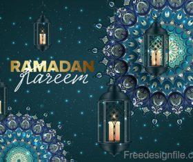 Ramadan kareem background with decor pattern vector 02