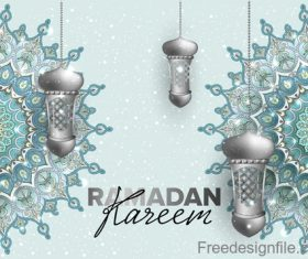 Ramadan kareem background with decor pattern vector 03