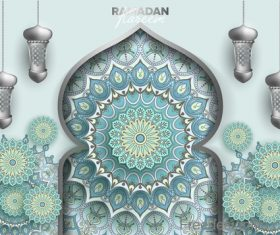 Ramadan kareem background with decor pattern vector 05