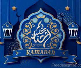 Ramadan kareem blue ornate background vector 02
