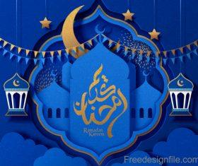 Ramadan kareem blue ornate background vector 03
