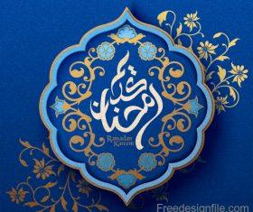 Ramadan kareem blue ornate background vector 04