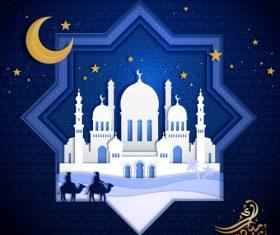 Ramadan kareem blue ornate background vector 05