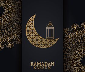 Ramadan kareem card with luxury decor vector 01