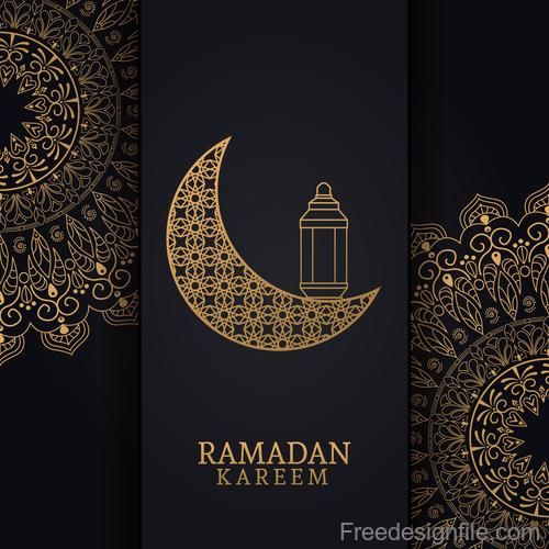 Ramadan kareem card with luxury decor vector 01