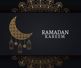 Ramadan kareem card with luxury decor vector 02