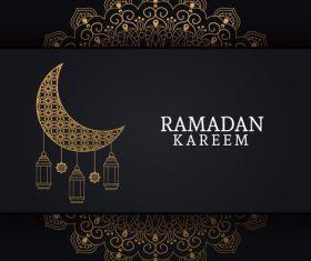 Ramadan kareem card with luxury decor vector 02