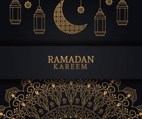 Ramadan kareem card with luxury decor vector 03