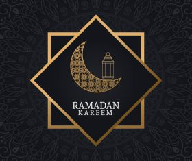 Ramadan kareem card with luxury decor vector 04