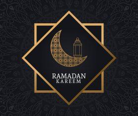 Ramadan kareem card with luxury decor vector 04