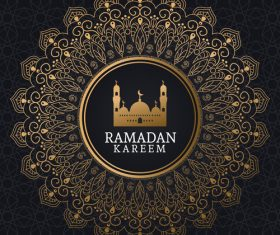 Ramadan kareem card with luxury decor vector 05