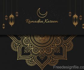 Ramadan kareem card with luxury decor vector 06