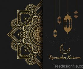 Ramadan kareem card with luxury decor vector 07