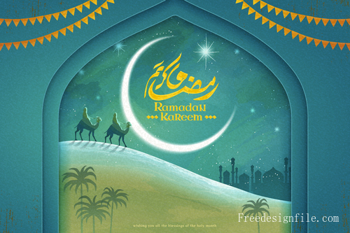 Ramadan kareem festival background with camel vectors