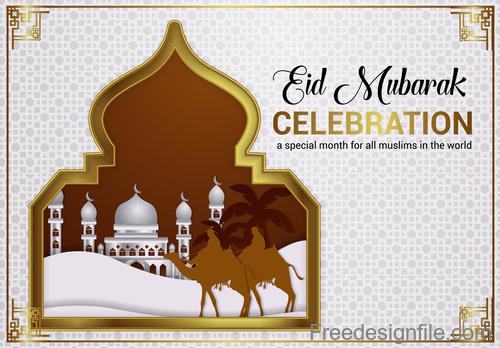 Ramadan kareem with eid mubarak festival design vector 01