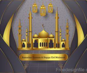 Ramadan kareem with eid mubarak festival design vector 02