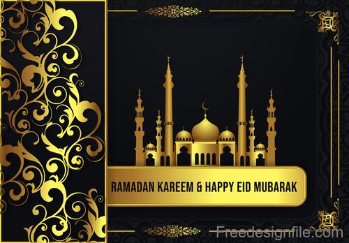 Ramadan kareem with eid mubarak festival design vector 03