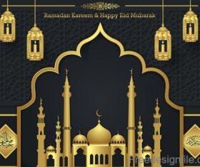 Ramadan kareem with eid mubarak festival design vector 04