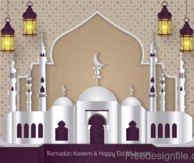 Ramadan kareem with eid mubarak festival design vector 05