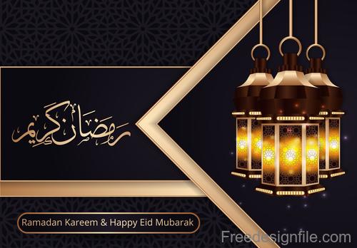 Ramadan kareem with eid mubarak festival design vector 06