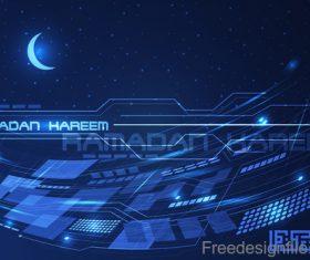 Ramadan kareem with tech background vector