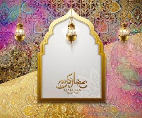 Ramadan kareen colored ornate vector background