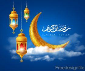 Ramadan lant clouds vector design