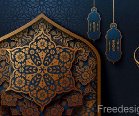 Ramadan mubarak festival decor background design vector 04