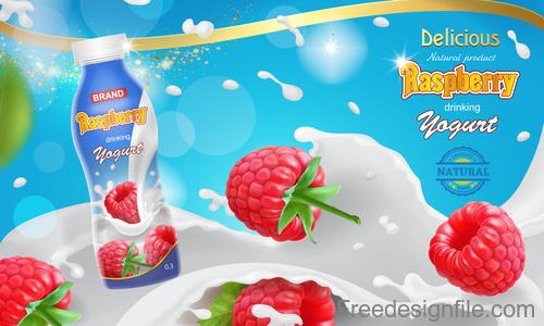 Raspberry milk poster template vector