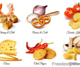 Realistic crackers snacks flavoring additive set vector