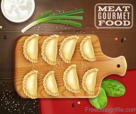 Realistic meat gourmet food vector