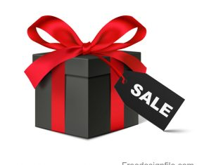 Red bows with black gift box and black friday tag vector 01