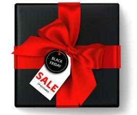 Red bows with black gift box and black friday tag vector 02