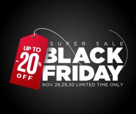 Red discount tag with Black friday sale background vector