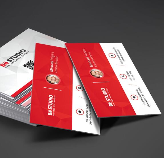 Red with White Business Card PSD Template