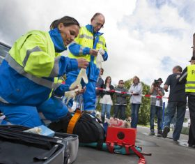 Rescue of rescue personnel at the scene of car accident Stock Photo