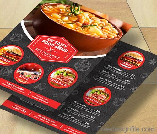 Restaurant Food Menu with Flyer PSD Template