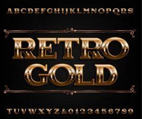Retro gold font vector