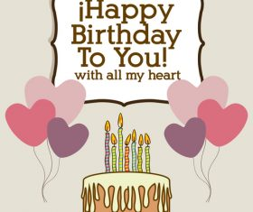 Retro happy birthday to your card template vector