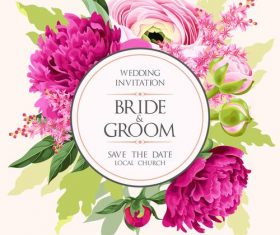 Round wedding invitation card vector design