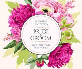 Round wedding invitation card vector design