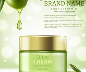 SD Jar of olive cream on green background vector 02